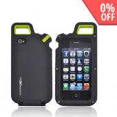 Original PureGear AT&T/ Verizon Apple iPhone 4, iPhone 4S PX360 Rubberized Hard Impact Case w/ Utility Tool, Carabiner, & Screen Protector, 02-001-01174 - Black/ Lime Green