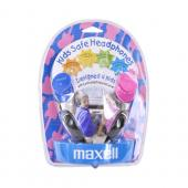 Original Maxell Universal Kids Safe Headset w/ Changeable Colors,190338 - Pink/Gray/Blue (3.5mm)