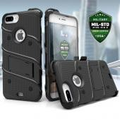 Apple iPhone 7 Plus (5.5 inch) Case - [BOLT] Heavy Duty Cover w/ Kickstand, Holster, Tempered Glass Screen Protector & Lanyard [Black]