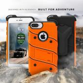 Apple iPhone 7 Plus (5.5 inch) Case - [BOLT] Heavy Duty Cover w/ Kickstand, Holster, Tempered Glass Screen Protector & Lanyard [Orange/ Black]