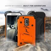 Motorola Moto G4/ Moto G4 Plus Case - [BOLT] Heavy Duty Cover w/ Kickstand, Holster, Tempered Glass Screen Protector & Lanyard [Orange/ Black]