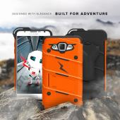 Samsung Galaxy J7 (2015) Case - [BOLT] Heavy Duty Cover w/ Kickstand, Holster, Tempered Glass Screen Protector & Lanyard [Orange/ Black]
