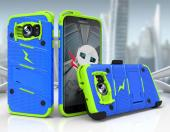 Samsung Galaxy S7 Edge Case - [BOLT] Heavy Duty Cover w/ Kickstand, Holster, & Lanyard [Blue/ Neon Green] - Screen Protector NOT Included