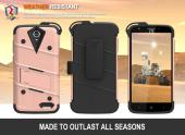 ZTE Warp 7/ ZTE Grand X 3 Case - [BOLT] Heavy Duty Cover w/ Kickstand, Holster, Tempered Glass Screen Protector & Lanyard [Rose Gold]