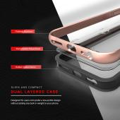 Apple iPhone 7 Plus (5.5 inch) Case, SHOCK Series Aluminum Metal Bumper [Crystal Clear] Hybrid Case w/ Reinforced Edges [Rose Gold]