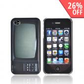 Original DCI AT&T/ Verizon iPhone 4, iPhone 4S Flash Rubberized Hard Case, 30413 - Black/ White Retro T.V.