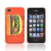 Original DCI AT&T/ Verizon iPhone 4, iPhone 4S Flash Rubberized Hard Case, 30420 - Hamburger on Red Stripes