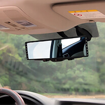 "Auto Rear View Clip On Mirror w/ Diamonds 10.5"" x 2.75"", Universal, Extra Wide and Easy to Install on All Cars & Trucks"