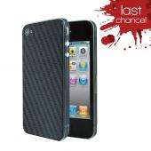 OEM Luardi Apple iPhone 4/4S Reusable Protective Skin w/ Screen Protector - Black Carbon Fiber Design