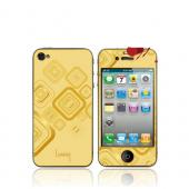 OEM Luardi Apple iPhone 4/4S 24 KT Yellow Gold Plated Metallic Protective Skin - Squares