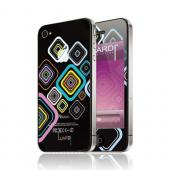 OEM Luardi Apple iPhone 4/4S Reusable Protective Skin - Multi-Color Luardi Pattern on Clear