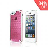 Hornettek Ozone Bee Hive Hot Pink/ White Hybrid Case w/ Hexagonal Design for Apple iPhone 5/5S