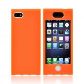 Premium Apple iPhone 5 Hard Case Over Silicone - Neon Orange/ White