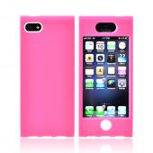 Premium Apple iPhone 5 Hard Case Over Silicone - Hot Pink/ White