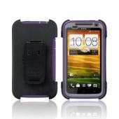 OEM Otterbox HTC One X Defender Series Silicone Over Hard Case w/ Holster & Screen Protector - Purple/ Gray