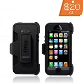 Otterbox Black Defender Series Silicone Over Hard Case w/ Holster for Apple iPhone 5