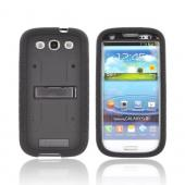 Samsung Galaxy S3 Duo Shield Silicone Over Hard Case w/ Screen Protector - Black