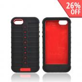Apple iPhone 5 Duo Shield Silicone Over Hard Case w/ Screen Protector - Red/ Black
