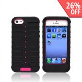 Apple iPhone 5 Duo Shield Silicone Over Hard Case w/ Screen Protector - Black/ Hot Pink