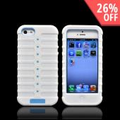 Apple iPhone 5 Duo Shield Silicone Over Hard Case w/ Screen Protector - White/ Baby Blue