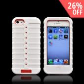 Apple iPhone 5 Duo Shield Silicone Over Hard Case w/ Screen Protector - White/ Red