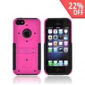 Apple iPhone 5/5S Tri Shield Hard Case Over Silicone w/ Stand & Screen Protector - Hot Pink/ Black
