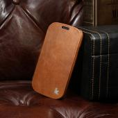 Jisoncase Brown Vintage Style Handmade Genuine Leather Diary Folio Case for Samsung Galaxy S3