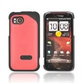Original HTC Rezound Rubberized Hard Case w/ Textured Lines, 70H00497-06M - Black/ Red