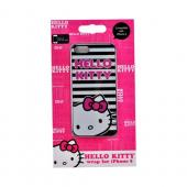 Officially Licensed Sanrio Apple iPhone 5 Hard Back Cover, KT4489BWP - Black/ White Stripes Hello Kitty