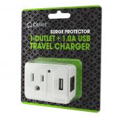 Cellet 1 Outlet + 1.0A USB Port Surge Protector Travel Charger