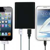 Power Source Universal External Battery Charger w/ Dual USB Ports &  Micro USB Cable for Smartphones and Tablets