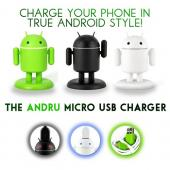 Gen Andru Dark Edition Android Robot Micro USB Cell Phone Travel Charger w/ Light Up Eyes & Moveable Arms (1A)