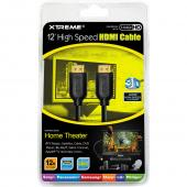 Black HDMI Cable w/ 24K Gold Plated Ports for 1440P Resolution (12 ft.)