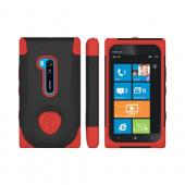 OEM Trident Aegis Nokia Lumia 900 Hard Case Over Silicone w/ Screen Protector - Red/ Black