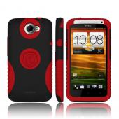Trident Aegis HTC One X Hard Case Over Silicone w/ Screen Protector - Red/ Black