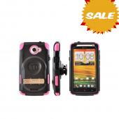 OEM Trident Kraken AMS HTC One X Hard Case Over Silicone w/ Screen Protector, Kickstand & Belt Clip - Pink/ Black