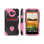 OEM Trident Aegis HTC EVO 4G LTE Hard Case Over Silicone w/ Screen Protector - Pink/ Black