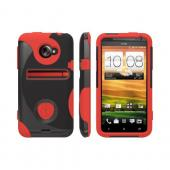 OEM Trident Aegis HTC EVO 4G LTE Hard Case Over Silicone w/ Screen Protector - Red/ Black