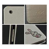 White w/ Silver Gem Bunny Faux Leather Diary Flip Case w/ Pebbled Texture & ID Slots for Apple iPad Mini