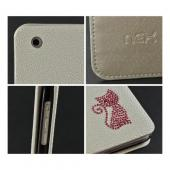 White w/ Pink Gem Cat Faux Leather Diary Flip Case w/ Pebbled Texture & ID Slots for Apple iPad Mini