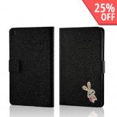 Black w/ Silver Gem Bunny Faux Leather Diary Flip Case w/ Pebbled Texture & ID Slots for Apple iPad Mini 1/2