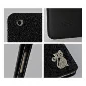 Black w/ Silver Gem Cat Faux Leather Diary Flip Case w/ Pebbled Texture & ID Slots for Apple iPad Mini 1/2