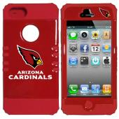 Arizona Cardinals Rocker Series Red Hard Case Shell on Red Silicone Skin Case for Apple iPhone 5/5S - NFL Licensed