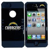 San Diego Chargers Rocker Series Black Hard Case Shell on Blue Silicone Skin Case for Apple iPhone 5/5S - NFL Licensed