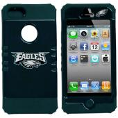 Philadelphia Eagles Rocker Series Dark Green Hard Case Shell on Dark Green Silicone Skin Case for Apple iPhone 5/5S - NFL Licensed