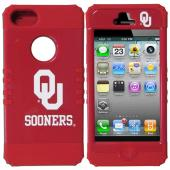 Oklahoma Sooners Rocker Series Red Hard Case Shell on Red Silicone Skin Case for Apple iPhone 5/5S - NCAA Licensed