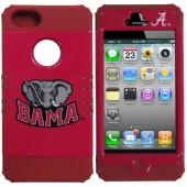 Alabama Crimson Tide Rocker Series Red Hard Case Shell on Red Silicone Skin Case for Apple iPhone 5/5S - NCAA Licensed