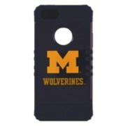 Michigan Wolverines Rocker Series Blue Hard Case Shell on Blue Silicone Skin Case for Apple iPhone 5/5S - NCAA Licensed