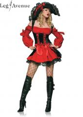 LegAvenue Costume Vixen Pirate Wench w,Velvet Double Lace Up Corset Dress - Red,Black 83157