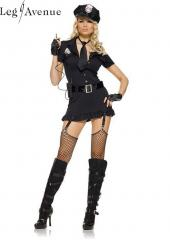 6PC LegAvenue Costume 6 Piece Dirty Cop Button Front Dress w, Hat, Fingerless Gloves, Belt, Tie & Walkie Talkie 83344